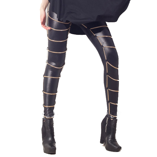 Spring-New-2014-Woman-Black-Milk-Hot-Sexy-Fashion-Women-Wet-Look-Metal-Chain-Cages-Legging