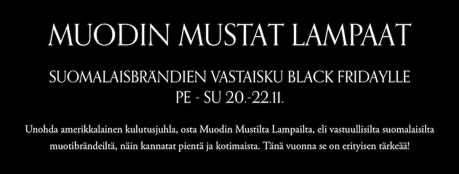 Muodin mustat lampaat, Black Friday,